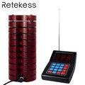 Sistema de llamadas de restaurante RETEKESS Beeper 1 transmisor de teclado + 10 localizadores de posavasos