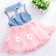 2017 new beautiful princess gauze Mini Party Princess Dress Baby Baby Flower cowboy sleeveless Princess Dress(China)