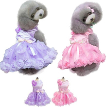 Female Pet Dogs Puppy Spring Summer Bow Rose Satin Gauze Party Tutu Dress Clothes
