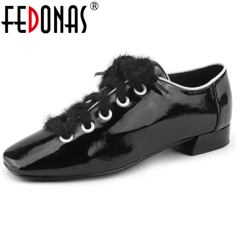 FEDONAS Fashion Black White Women Genuine Leather High Heels Pumps Lace Up Sexy Square Toe Party