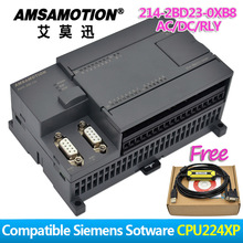 Promotion!!! Amsamotion PLC S7-200CN CPU224XP 14I/10O 2AI 1AO AC/DC/RLY 6ES7 214-2BD23-0XB8 With PPI Cable Free plc ac dc rly 24 di 16 do relay main unit cpu226 ar compatible with 6es7 216 2bd23 0xb0 with program cable new