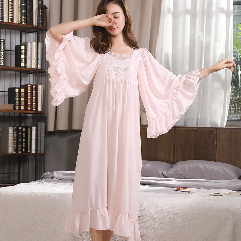 Vintage White Pink Blue Lace Cotton Trumpet Sleeves Nightdress Women Sleepwear Homewear Spring Summer Autumn  Nightgowns