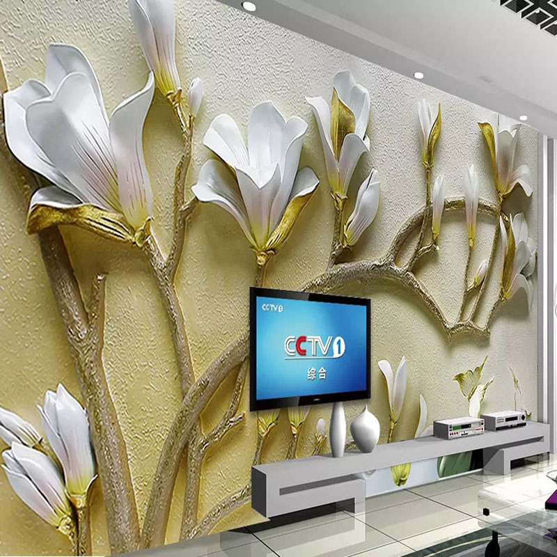 Custom Wall Mural Wall Painting 3D Stereoscopic Relief Flowers Living Room TV Background Decorative  Non-woven Wallpaper Murals