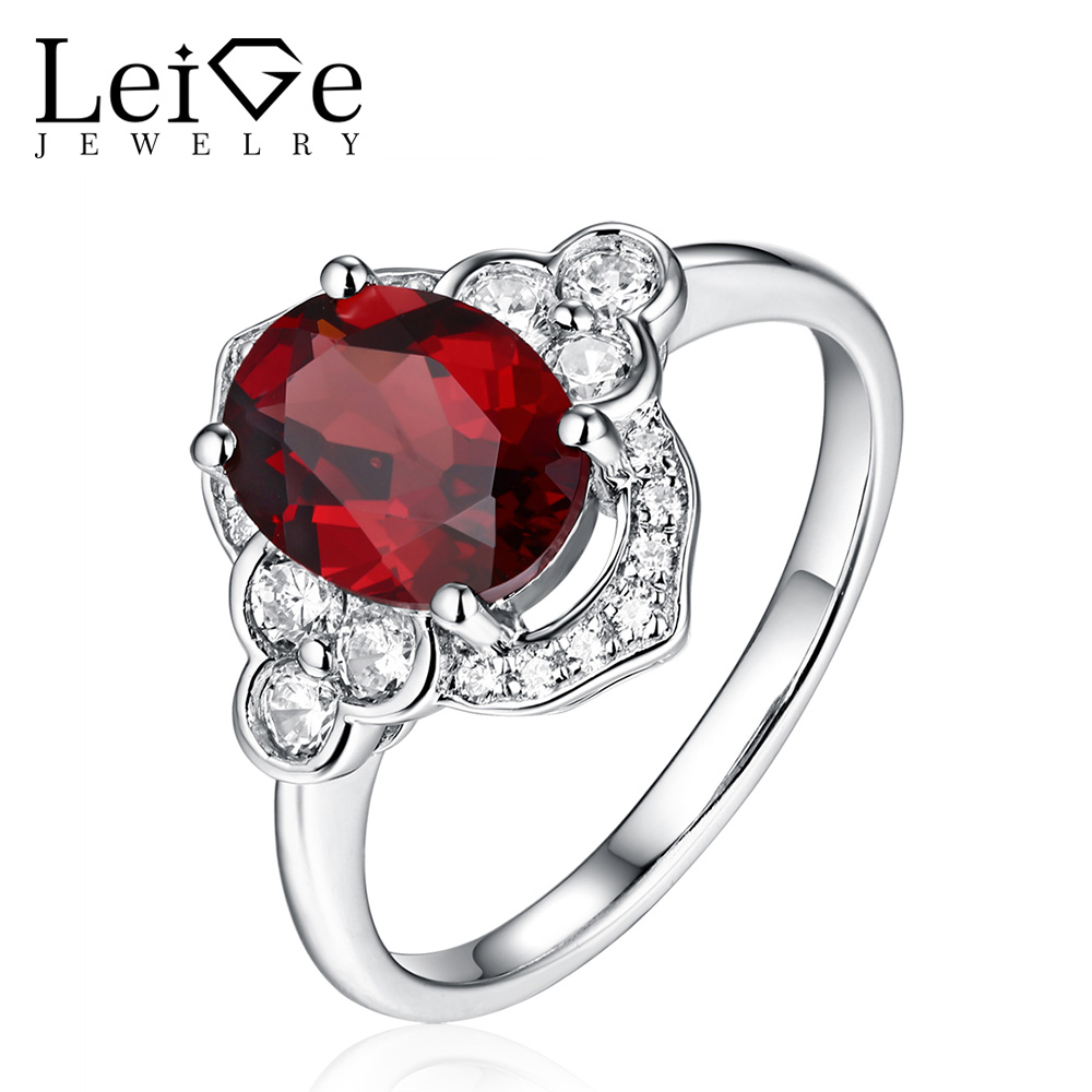 Red Natural Garnet Ring Sterling Silver for Women Oval Cut Prong Setting