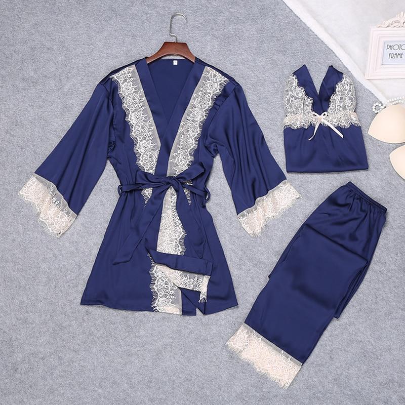 QWEEK Sexy Lace Women   Pajama     Sets   with Chest Pads Female Pyjama Silk Pijama Home NIghtwear Sleep Lounge   Sets   Women Sleepwear