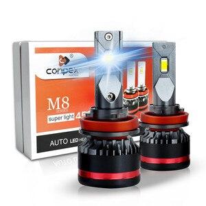 2 шт. Авто 45 Вт 4400lm CSP светодиодные чипы LED H7 HB4 Автомобильные светодиодные фары лампы h11 h3 h4 лампы h1 D1S 6500K белый свет лампы