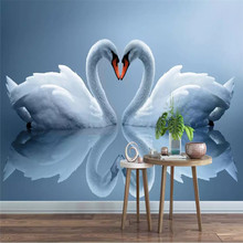 Custom wallpaper beautiful romantic swan TV sofa living room wall Nordic high quality material waterproof