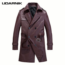 Men PU Black Jackets Solid Long Sleeve Faux Leather Thicken Coat Turn-down Collar Autumn Winter Fashion Slim Cool 903-A415