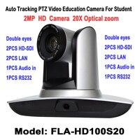 2.0 Megapiksel 1080 P Otomatik Takip PTZ Video Ses Eğitim Için Kamera HD SDI LAN Ile 20X RS232 Panoramik Video öğrenci Öğrenme