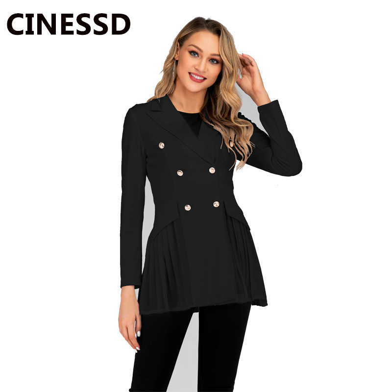 CINESSD Casual Blazers Coat Women White Double Breasted Long Sleeves Ruched Office Ladies Suits Solid Slim 2019 Blazers Jackets