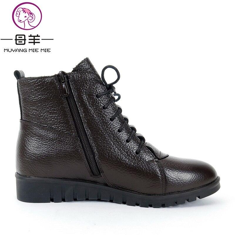 Image 5 - MUYANG MIE/зимняя женская обувь размера плюс (35 43) женские ботильоны из натуральной кожи на плоской подошве зимние ботинки женские ботинки-in Полусапожки from Обувь