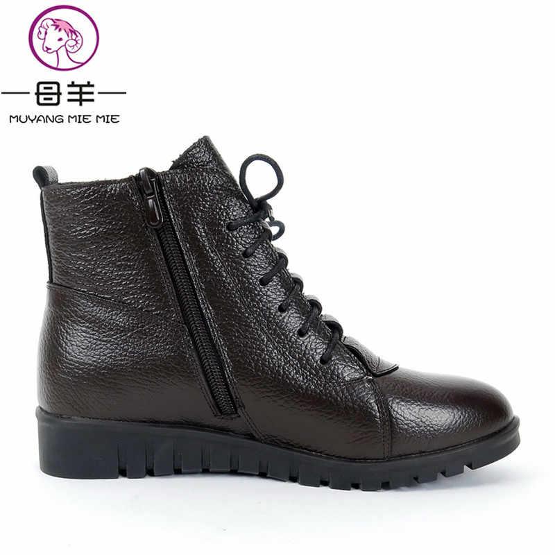 MUYANG MIE MIEขนาดบวก(35-43)ฤดูหนาวผู้หญิงรองเท้าผู้หญิงหนังแท้รองเท้าข้อเท้าแบนหิมะรองเท้าผู้หญิงรองเท้า