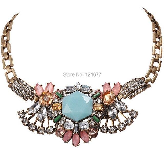 Fashion Luxury Vintage Chunky Shourouk Necklace Western Punk Style Rhinestone Choker Gothic Statement Accessories NecklaceN0612