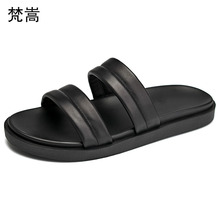 Genuine Leather slippers mens roman sandals summer beach shoes outdoor fender men genuine leather cowhide