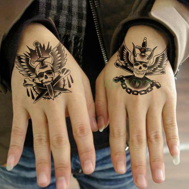 0bca1e548 Waterproof Temporary Tattoo Sticker Skull Head Dagger Knife Wings Fake  Tatto Flash Tatoo hand foot tatouage