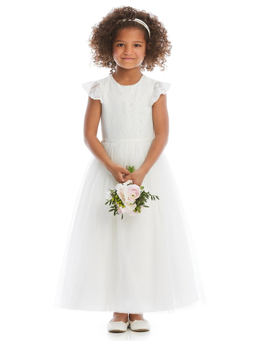 2019 New Flower Girl Dresses for Weddings A-Line Lace Little Girls First Communion Pageant Gowns