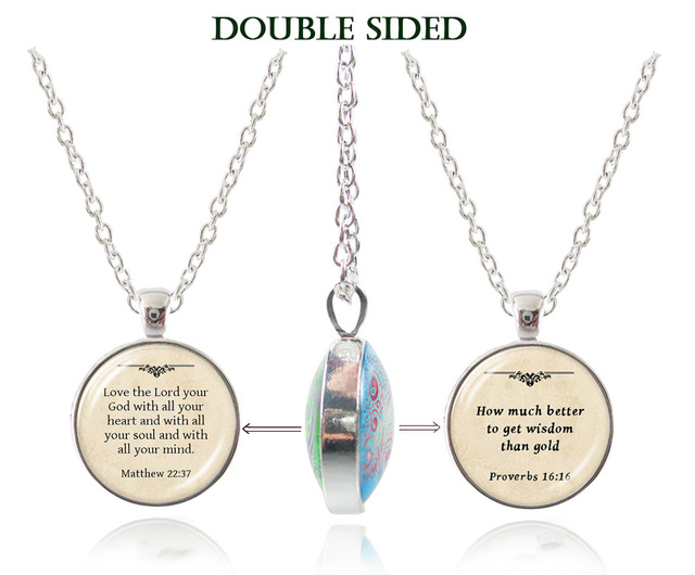 Double sided inspiration bible words pendant necklace glass double sided inspiration bible words pendant necklace glass cabochon quote choker jesus necklace christian jewelry drop aloadofball Images