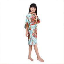 Flower Girl Robe Pajama Kid Children Sleepwear Robe Wedding Flower girls Gown High Quality Kimono Robes Peacock Nightgown Robe