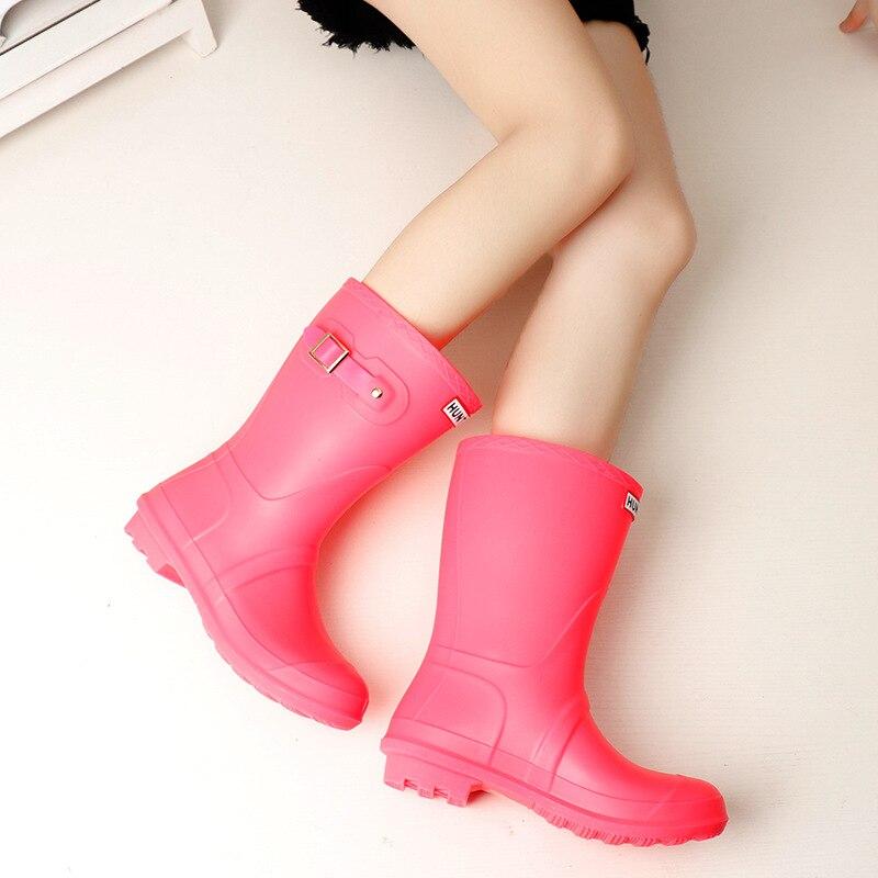 Pluie Caoutchouc Femmes Filles Imperméables Chaussures Galoches vert Rainboots Bottes D'hiver En Noir lFK3T1Jc