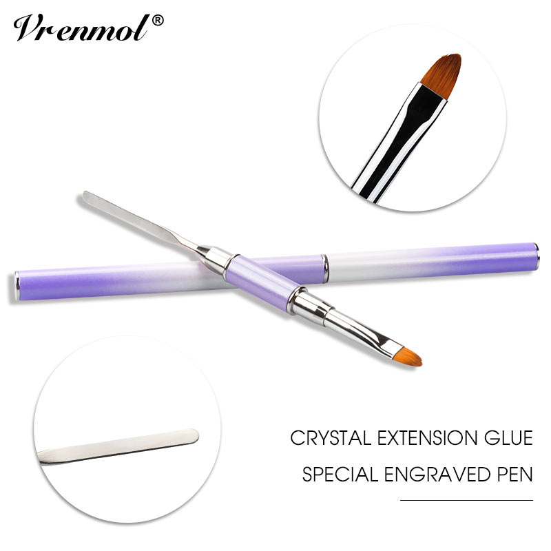 Vrenmol Poly Gel Dual-ended Builder UV Nail Brush Nylon Hair Flat Pusher for Nail Tips Quick Extension Building Carving Pen