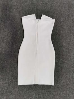 Free Shipping Women Summer Fashion Solid Sexy Key Hole White Bandage Dress 2020 Designer Fashion Evening Party Dress Vestido 3