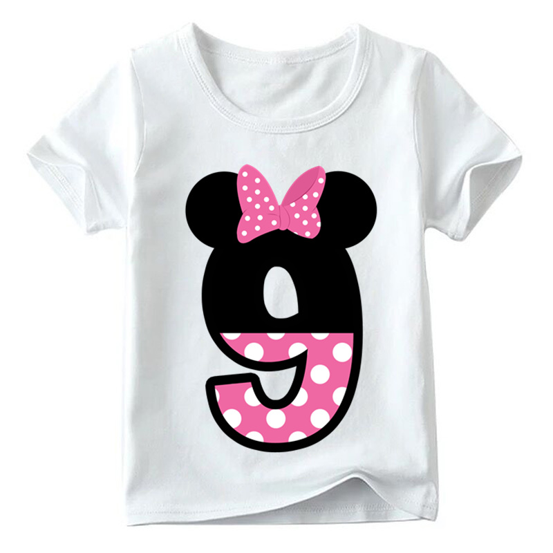 Baby Boys/Girls Happy Birthday Letter Bow Cute Print Clothes Children Funny T shirt,Kids Number 1-9 Birthday Present,HKP2416 15