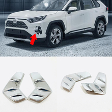 For Toyota RAV4 2019 ABS Chrome Car front fog lampshade cover frame accessories Cover Trim Sticker car styling 2pcs for audi q3 2012 2015 abs chrome car front fog lamps frame decorative exterior stickers cover trim car styling accessories 2pcs