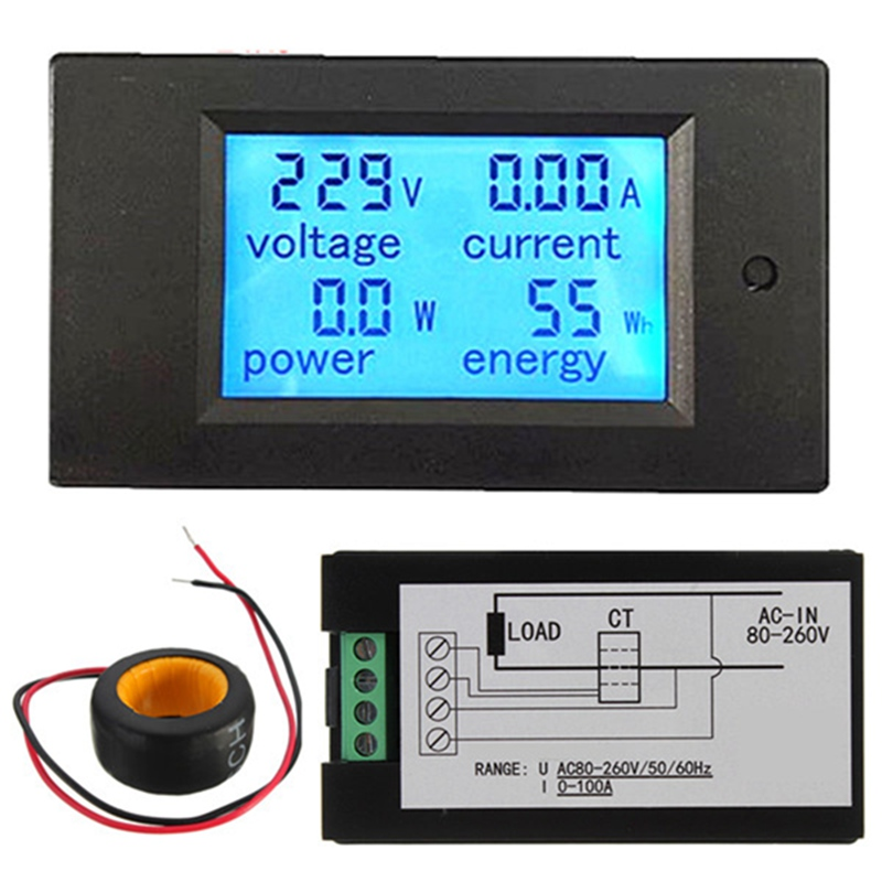 AC 20A Brand New 4 in 1 Digital LED Voltmeter Ammeter Power Energy Tester Meter Monitor