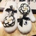 Manual Original Corea Puerta Oriental Belleza Real Pelo de Conejo Keep Warm Winter Necesario Incluso Los Amantes Del Dedo Guantes de piel de Mujer guantes