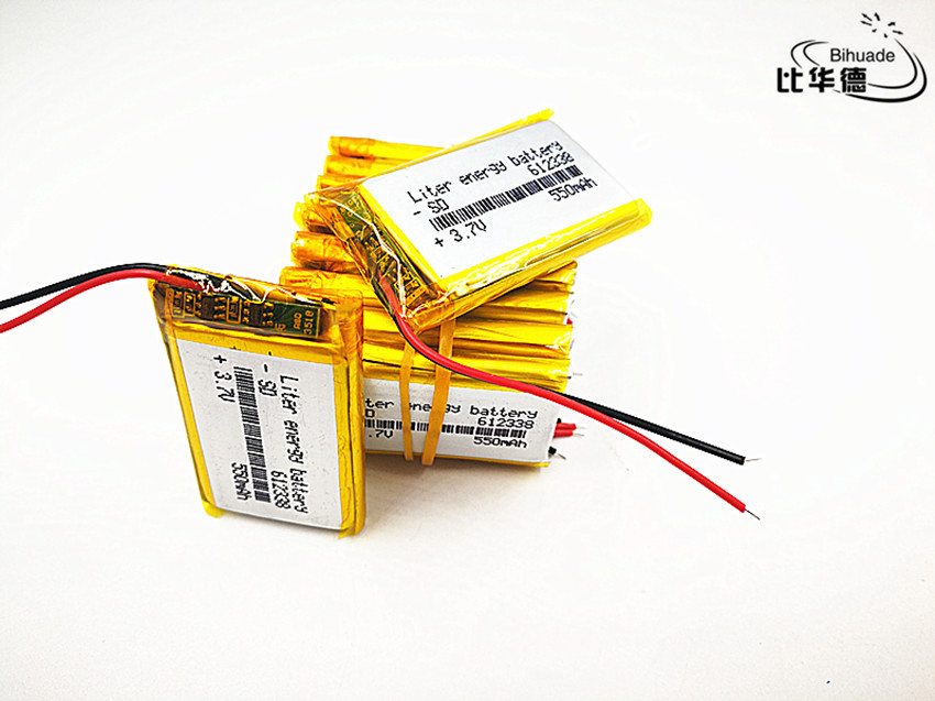 2019 The new quality 100pcs/lot 3.7V,550mAH,612338 Polymer lithium ion / Li-ion battery for automobile data recorder,GPS,mp3,mp4 3