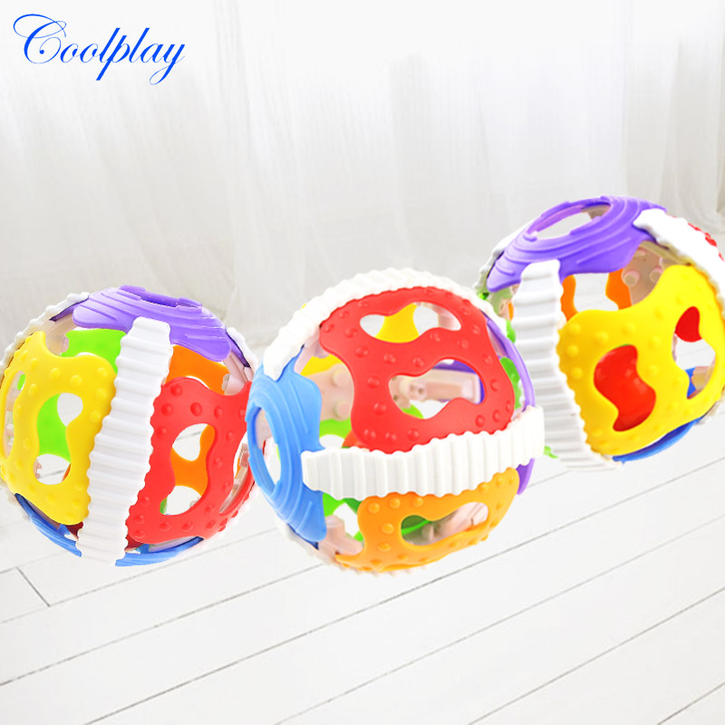 Cute Little Baby Rattles Hand Bell Ball Activity Grasping Toy Develop Baby Intelligence Soft Silicone Rattles 0-12 Months Toys