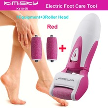 Red smooth strong electric pedicure tool Foot Care Cleansing Exfoliating Foot Care Tool +3pcs roller heads For scholls function