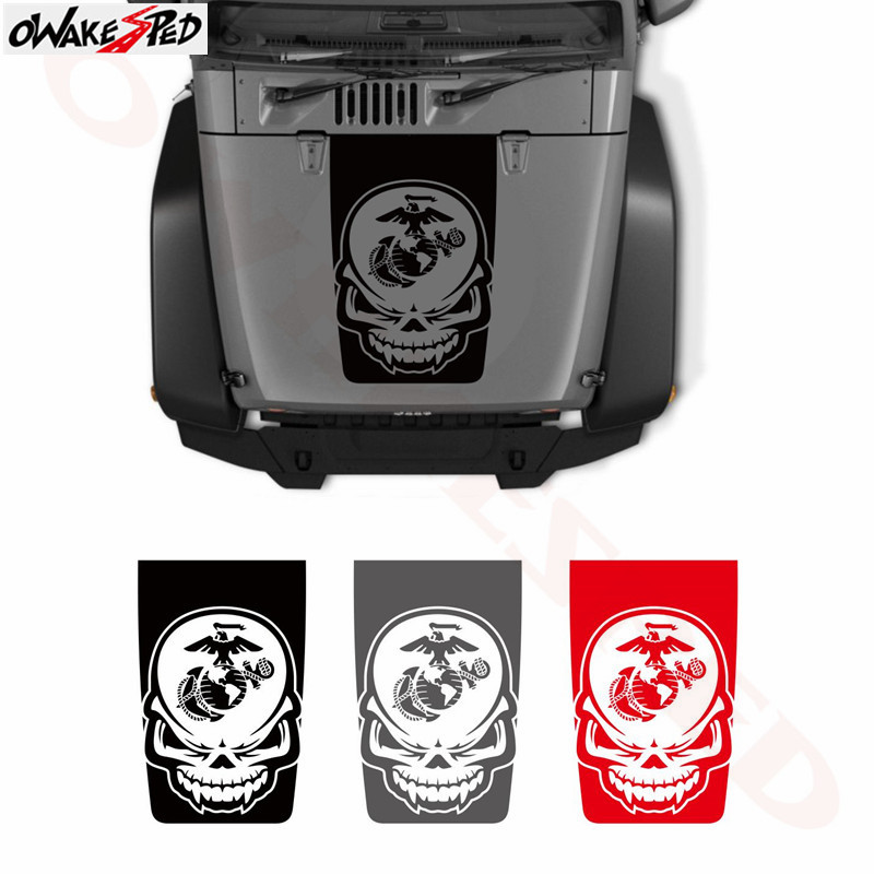 Skull Marines Globe Anchor Graphics Sticker Car Hood Decor Stickers For Jeep Blackout Cover Engine Accessories Vinyl Decal in Car Stickers from Automobiles Motorcycles