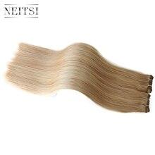 """Neitsi прямо бразильский Реми Пряди человеческих волос для наращивания 24 """"60 см 100 г/шт. P14/24 # P18/613 # Пианино цветной дважды обращается волосы утка"""