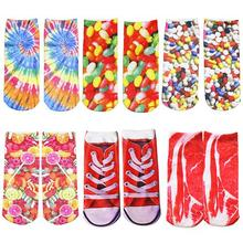 2016 1 Pair Unisex Fashion Cool Vivid 3D Printed Patterns Anklet Socks Hosiery 6REB 7G5Z 8A7J