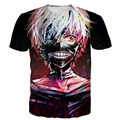 Colorido Harajuku Camiseta Homens Mulheres Hipster t 3D camisa Clássico Anime de Tóquio Ghoul t Cabelo Branco Kaneki tshirts Impressão tees