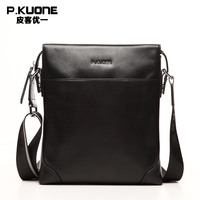 P Kuone Genuine Leather Men Bag Cowskin Men Messenger Bags Business Casual Cowhide Men S Shoulder
