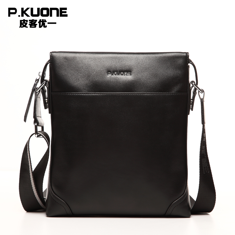 P.kuone Genuine Leather Men Bag Cowskin Men Messenger Bags Business Casual Cowhide Men's Shoulder Crossbody Bag casual canvas women men satchel shoulder bags high quality crossbody messenger bags men military travel bag business leisure bag