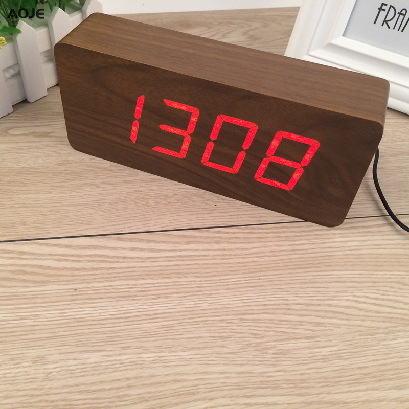 Clocks Cube Clock Best Large Wooden Clock Led Digital Wooden Alarm Clock Despertador Sound Control Electronic Wood Pallet Clock Alarm Clocks