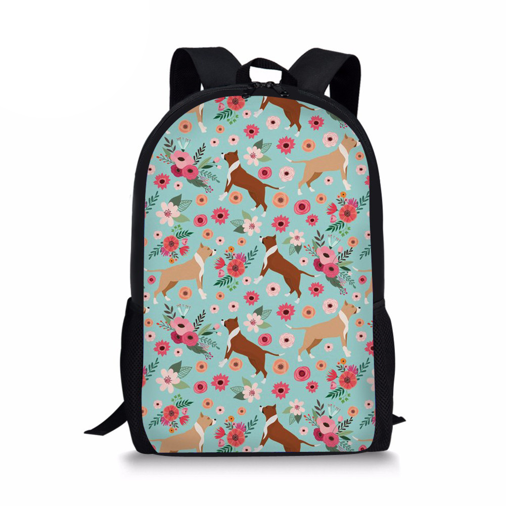 3D Pit Bull Printed Schoolbag Fashion Primary School Bags For Boy Girls 16 inch Children Backpacks Mochila Sac A Dos
