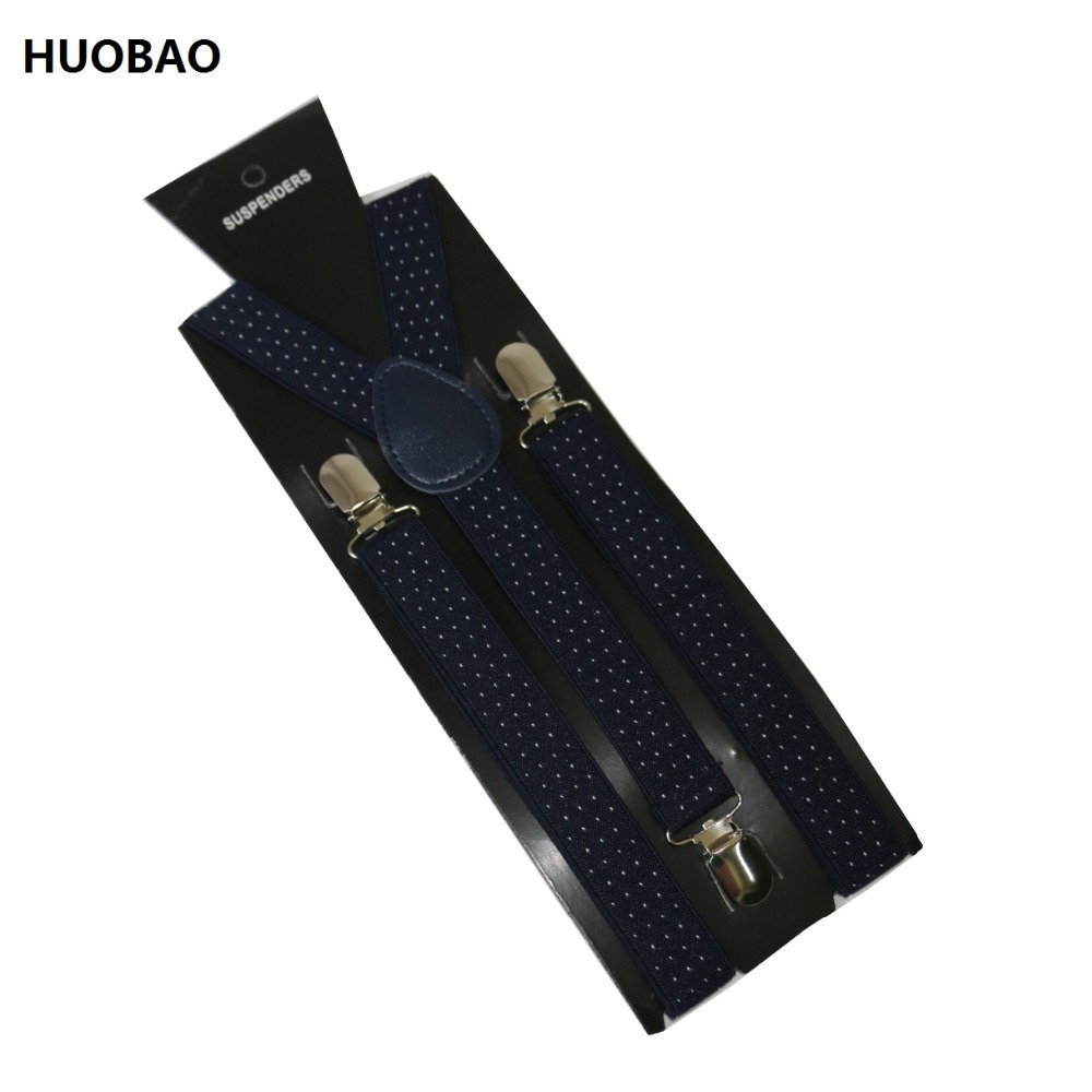 Free Shipping 2017 Women/Mens 2.5cm Wide Clip-on Geometric Small Dots Braces Elastic Y-back Suspenders