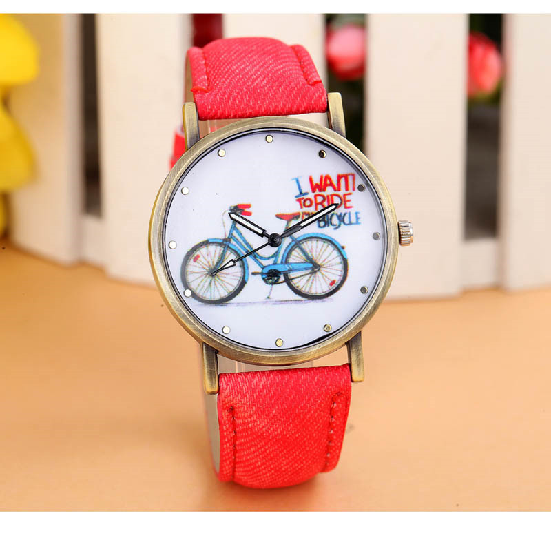 Relojes Mujer 2018 Fashion Women Girl Dress Bracelet Watch Clock Denim Style Leather Band Analog Quartz femme Wrist Watch #C l 10 women s stylish petals style bracelet quartz analog wristwatch golden white 1 x lr626