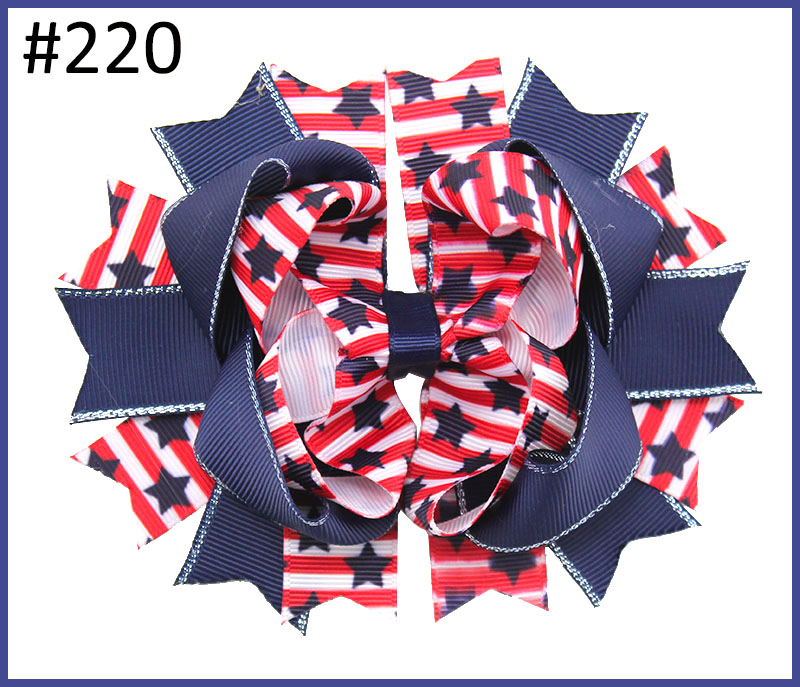 free shipping 120pcs Newest 4th of july hair bows Girl boutique hair bows Patriotic Bows fourth