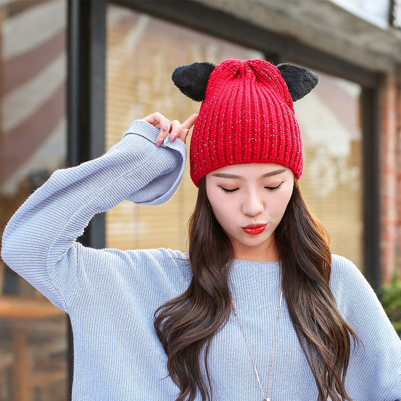 HT1332 New Fashion Women Winter Hats Korea Style Warm Sequin Skullies  Beanies Black Red Grey Cute Ears Slouch Beanie Hat Caps 26f90af01eb