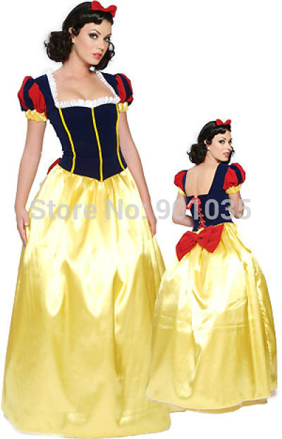 Penghantaran PERCUMA Snow White Princess Fairy Tale Costume Gown Gown Deluxe 8051 S, M, L, XL
