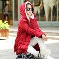 Casaco de inverno 2015 Mulheres Para Baixo Casaco Longo Casaco de Moda Feminina Com Capuz Casuais Outerwear Plus Size Casaco Mulheres Parkas C998