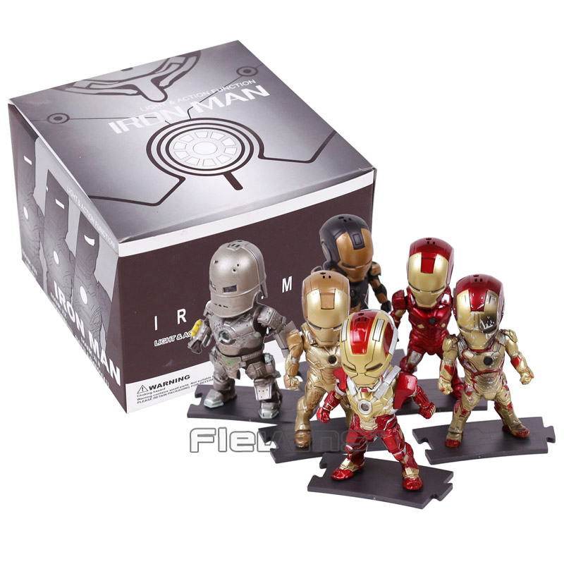 Egg Attack Iron Man Light & Action Function 6pcs/set Iron Prtriot MK42 43 22 24 2 PVC Action Figures Collectible Model Toys 9cm iron man action figure mini egg attack light 6pcs set action figures pvc brinquedos collection figures toys for christmas gift