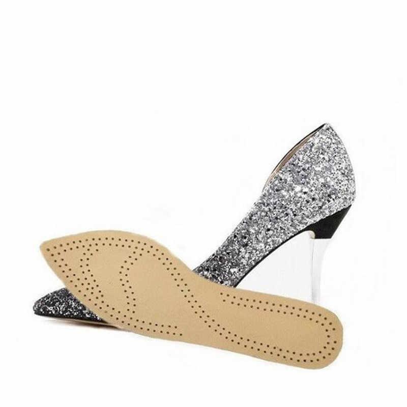 Kadın Deri Tabanlık Bayanlar için Düz Kafa Ucu Kafa Yüksek Topuklu Çizmeler Ultra Ince Domuz ayakkabı pedi Rahat Ekler Tabanı