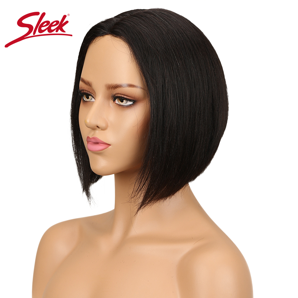 Sleek Brazilian Hair Wigs Straight Bob Wigs For Black Women Natural Color Lace Front Human Hair Wigs Free Shipping Remy Hair