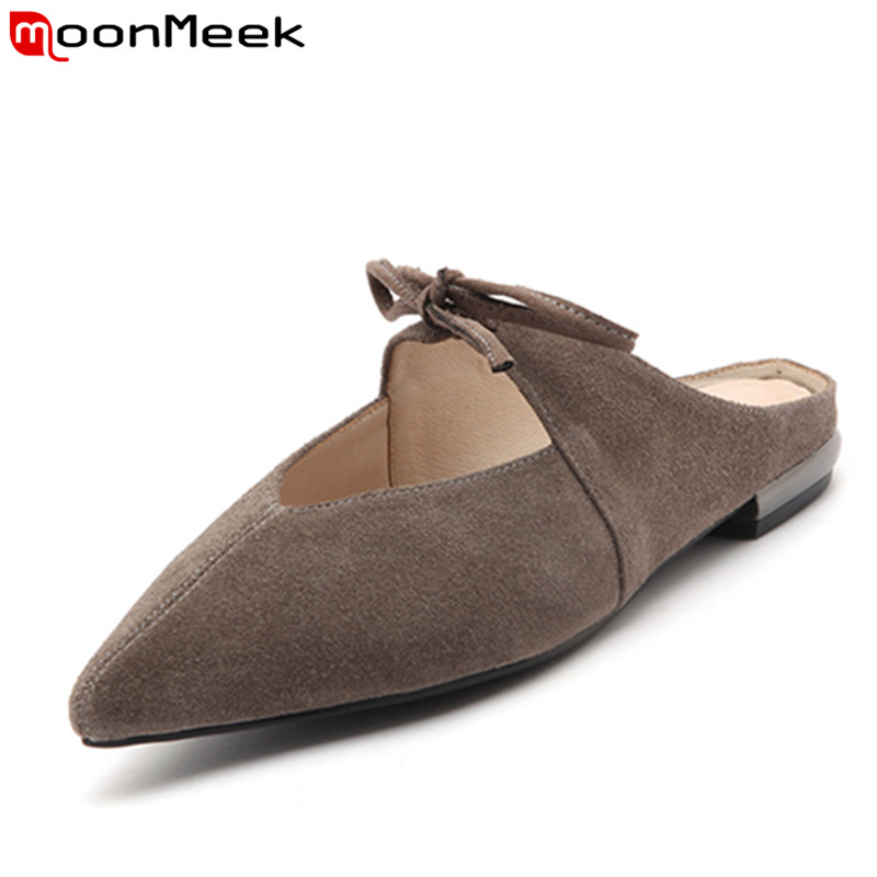 MoonMeek 2017 hot sale women flats fashion bowknot pointed toe  ladies genuine leather spring autumn single shoes kbstyle 2017 new spring shoes for women brand pointed toe womens flats fashion young ladies casual shoes hot sale wholesale